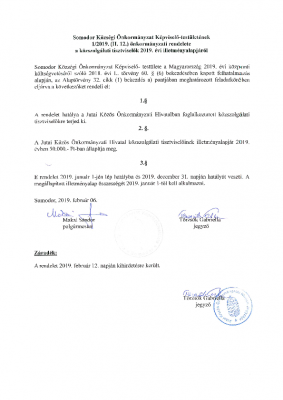 1.2019. (II.12.) közszolgálati tisztviselők illetményalapjáról.SO másolata