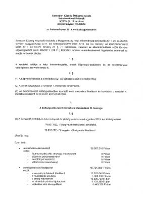 3.2019.(II. 15.) 2019. évi költségvetési rendelet.SO