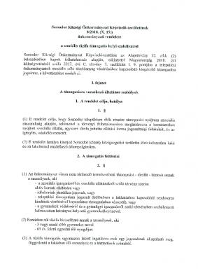 8.2018. (X.19.) Szociális tüzifa támogatás helyi szabályai.SO